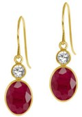 4.00 Ct Oval Natural Red Ruby 14K Yellow Gold Earrings
