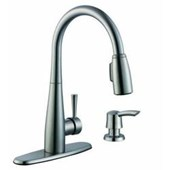 900 Series Single-Handle Pull-Down Sprayer Kitchen Faucet in Stainless Steel with Soap Dispenser