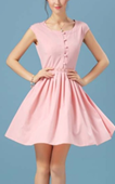Pink With Buttons Vintage Chiffon Pleated Dress