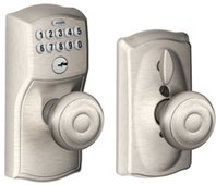 Schlage FE595 CAM 505 GEO Camelot Keypad Entry with Flex-Lock and Georgian Style Knobs, Bright Brass