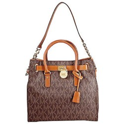 Michael Kors Hamilton Large Logo Tote in Brown